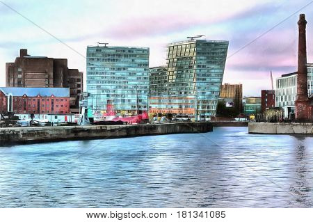 Colorful painting of Albert Dock, Liverpool Waterfront, Liverpool, UK