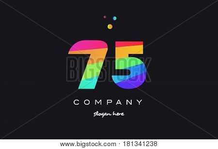 75 Seventy Five Colored Rainbow Creative Number Digit Numeral Logo Icon