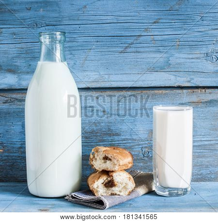 Glass of milk and sweet pastries