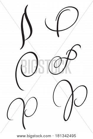 set of art calligraphy letter P with flourish of vintage decorative whorls. Vector illustration EPS10.