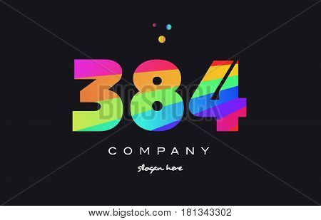 384 Colored Rainbow Creative Number Digit Numeral Logo Icon