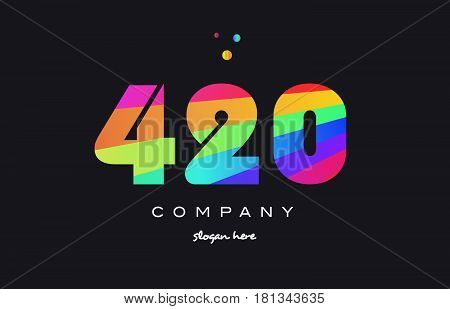 420 Colored Rainbow Creative Number Digit Numeral Logo Icon