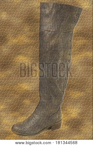 high women boots on background of imitation of skin