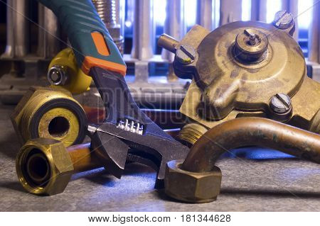 the part of gas boiler water fittings and adjustable spanner