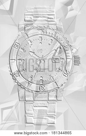 Wrist watches white texture stylization. Close up