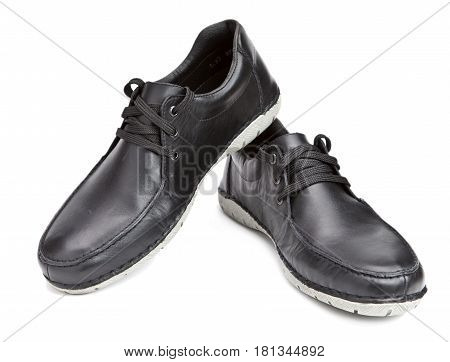 Men boots on a white background .