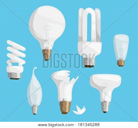 Cartoon lamps electric and bright cartoon interior lamps flat vector. Cartoon lamps light bulb electricity design flat vector illustration isolated on blue background.