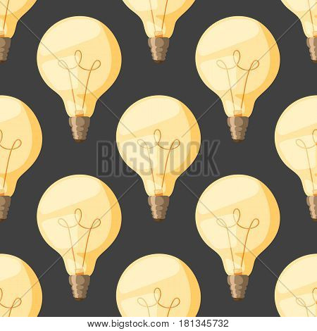Background light bulbs seamless pattern. Cartoon retro lamps light bulb electricity design lamp flat vector illustration. Collection of old bulbs sign of brainstorm and notification.