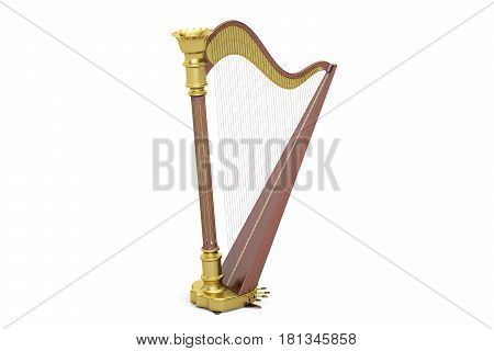 Harp 3D rendering isolated on white background