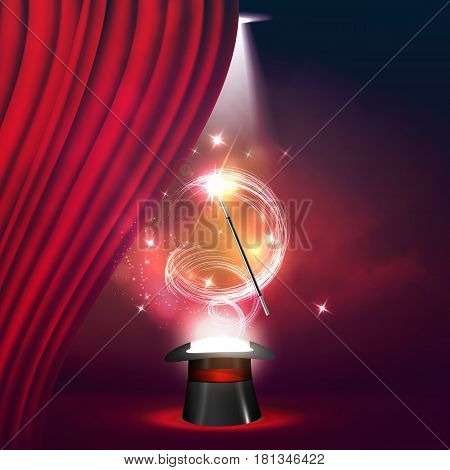 Magic Show poster design template. Magic show flyer design with hat and curtains. Magical illusion fiction in theater