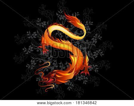 Oriental fire dragon on black background with branches illustration