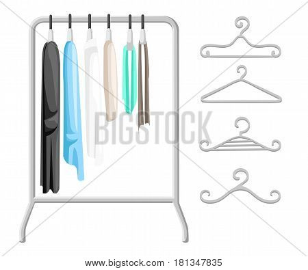 Hanger racks with clothes on hangers. Flat design style modern vector illustration concept