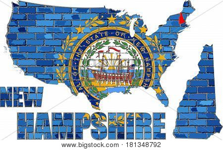 New Hampshire on a brick wall with effect - 3D Illustration
