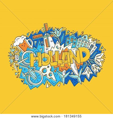 The vector illustration Holland word and the bright colorful symbols of a country.