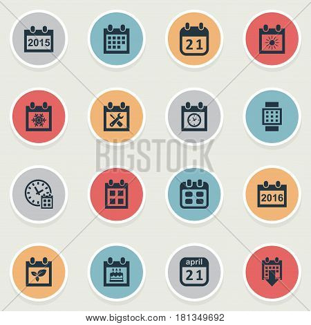 Vector Illustration Set Of Simple Calendar Icons. Elements Intelligent Hour, Remembrance, Plant And Other Synonyms Snowflake, Hour And April.