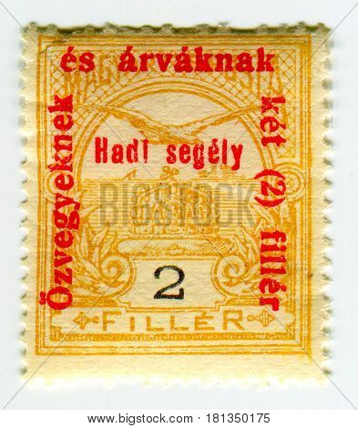 GOMEL, BELARUS, APRIL 4, 2017. Stamp printed in Hungary shows image of  The War Aid, circa 1915.