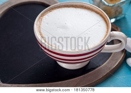 red coffee cup. top view red strip cup