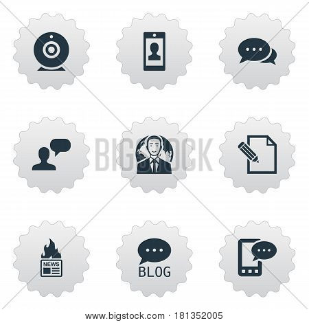 Vector Illustration Set Of Simple Blogging Icons. Elements Man Considering, Gazette, Argument And Other Synonyms Discussion, International And Considering.