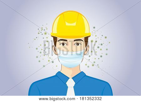 Engineer wearing breath mask and Safety Helmet for protect dust particles and accident when he working.