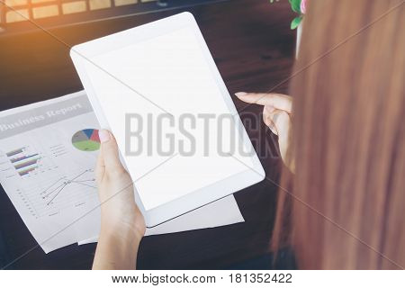 Teenage Freelance Working Business On Tablet.
