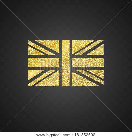 Isolated golden glitter United Kingdom Flag vector illustration