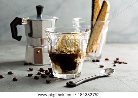 Coffee affogato with vanilla ice cream and espresso