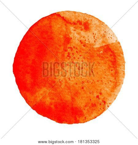 Watercolor abstract flame orange circle isolated on white background. Modern spot of round shape painted in watercolor in shades of tiger and mandarine colors. Trendy watercolour texture of 2017