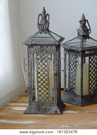 Old decorative lamps in the corner of a room