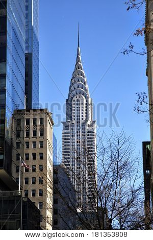 NEW YORK, USA - MARCH 24, 2017: The Chrysler Building is a classic example of Art Deco architecture and considered by many contemporary architects to be one of the finest buildings in New York City.