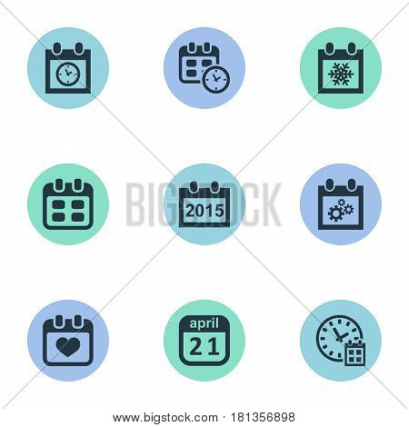 Vector Illustration Set Of Simple Time Icons. Elements Date, Deadline, Almanac And Other Synonyms Time, History And Snowflake.