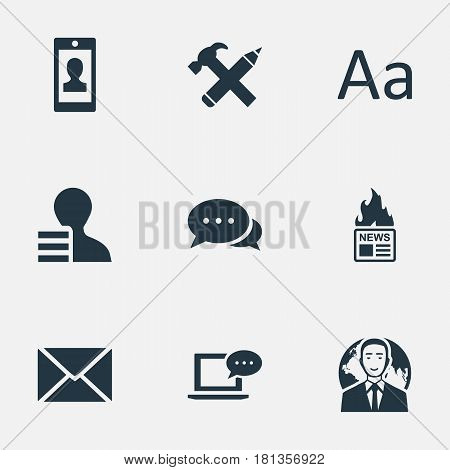 Vector Illustration Set Of Simple User Icons. Elements Gain, Post, Gazette And Other Synonyms Negotiation, News And Gain.