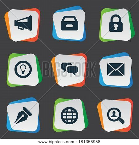 Vector Illustration Set Of Simple Job Icons. Elements Bulb, Dossier, Magnifier And Other Synonyms Padlock, Box And Files.