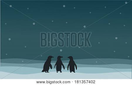 Penguin walking on snow scenery silhouette style vector illustration