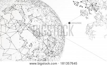 World map point line composition representing the global Global network connection international meaning.