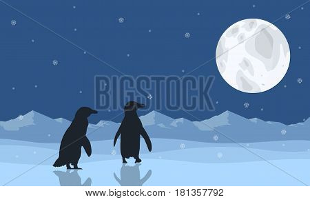 Silhouette of penguin on snow with moon scenery illustration