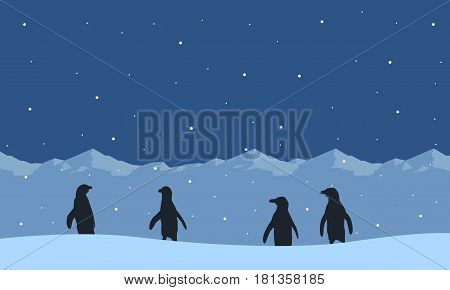 Collection of penguin on snow hill scenery vector illustration