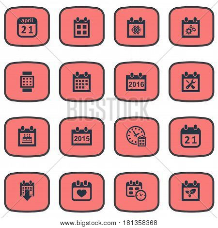 Vector Illustration Set Of Simple Time Icons. Elements Special Day, Agenda, Date And Other Synonyms Date, Smart And Almanac.