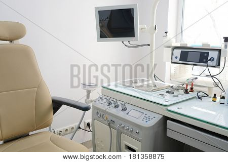 Medical office with equipment of  otolaryngologist