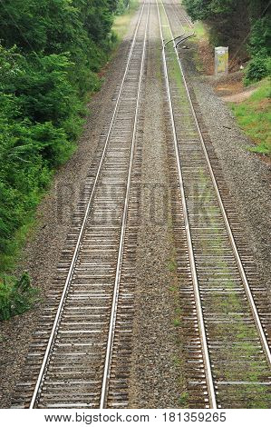 perspective view of old railway track extending to remote