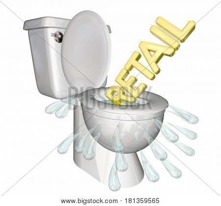 Retail Flushing Down Toilet Physical Stores Decline 3d Illustration