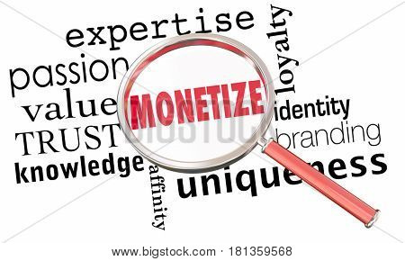 Monetize Magnifying Glass Selling Business Model Success 3d Illustration