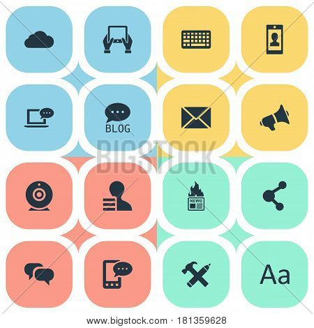 Vector Illustration Set Of Simple Newspaper Icons. Elements Keypad, Gain, Site And Other Synonyms Gain, Relation And Share.