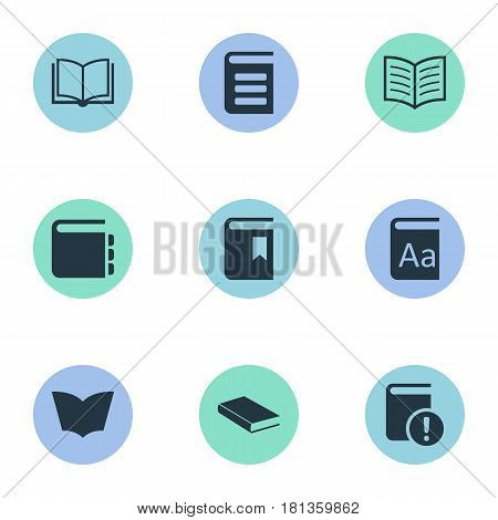 Vector Illustration Set Of Simple Reading Icons. Elements Encyclopedia, Book Cover, Journal And Other Synonyms Blank, Notepad And Bookmark.