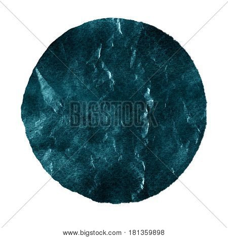 Watercolor abstract blue shaded spruce circle isolated on white background. Modern spot of round shape painted in watercolor in shades of blue and peacock colors. Trendy watercolour texture of 2017