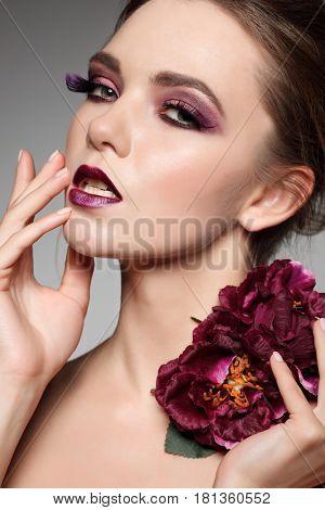 Fashion girl portrait.Dark hairs