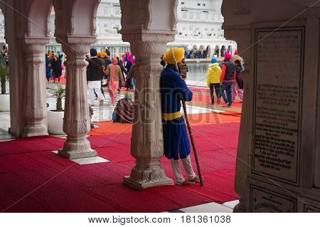 A Sikh With A Spear - Harsh Indian Warrior Guarding The Golden Temple.