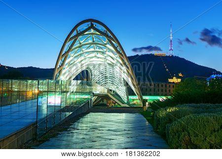 Bridge Of Peace At Night In Tibilisi, Georgia