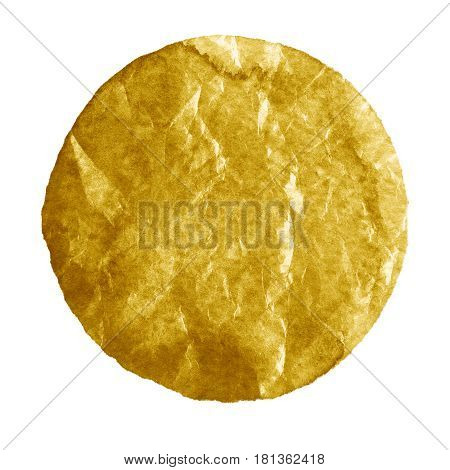 Watercolor abstract golden olive circle isolated on white background. Modern spot of round shape painted in watercolor in shades of macaroon sand and biscotti colors. Trendy watercolour texture 2017