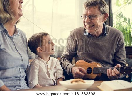 Mature Couple Family Child Ukulele