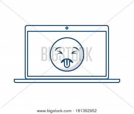 laptop computer with cartoon face on screen over white background. vector illustration